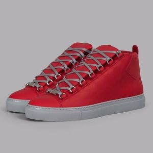 Balenciaga Arena Red Leather High Top Sneakers
